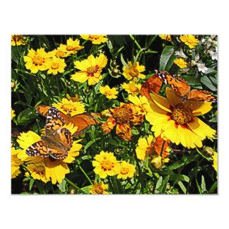 Orange Butterflies on Yellow Coreopsis Custom Invitations