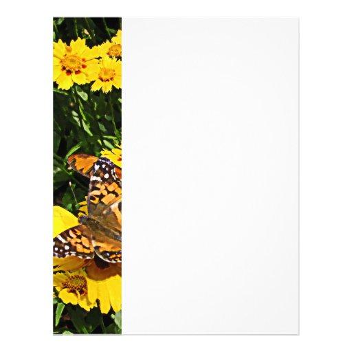 Orange Butterflies on Yellow Coreopsis Letterhead