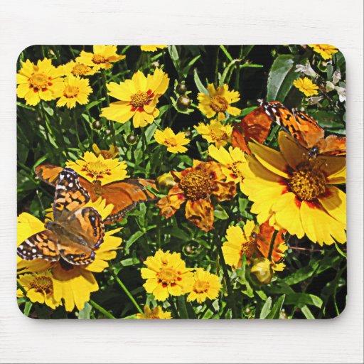 Orange Butterflies on Yellow Coreopsis Mousepad