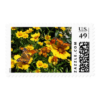Orange Butterflies on Yellow Coreopsis Stamp