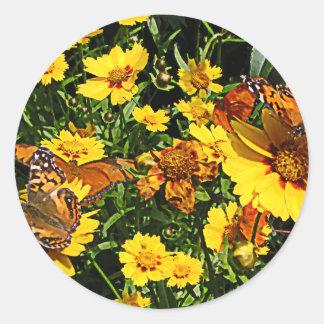 Orange Butterflies on Yellow Coreopsis Stickers