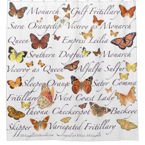 Orange Butterflies Shower Curtain
