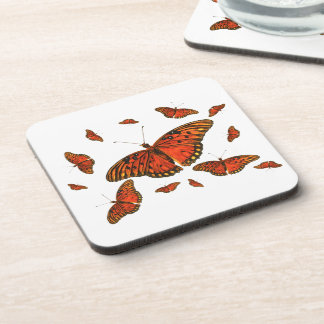 Orange Butterflies Square Cork Coaster
