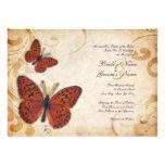Orange Butterflies Vintage Wedding Invitations