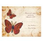 Orange Butterflies Vintage Wedding RSVP Announcement