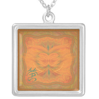 Orange Butterfly Abstract Art Square Pendant Necklace