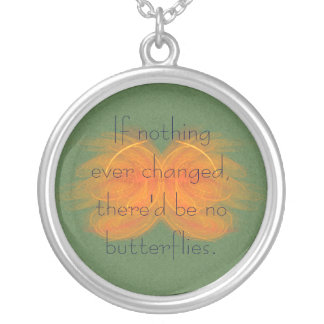 Orange Butterfly Abstract Art Round Pendant Necklace