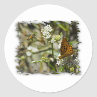 Orange Butterfly and Bee Sticker
