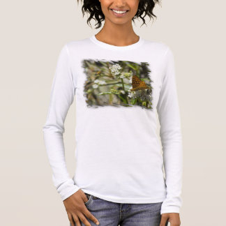 Orange Butterfly and Bee White Edge Long Sleeve T-Shirt