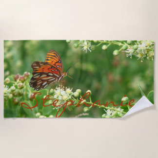 Orange Butterfly Beach Towel with Name