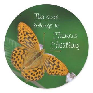 Orange butterfly bookplate sticker sticker