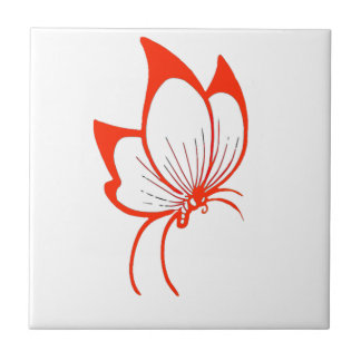 Orange Butterfly Cartoon Tile