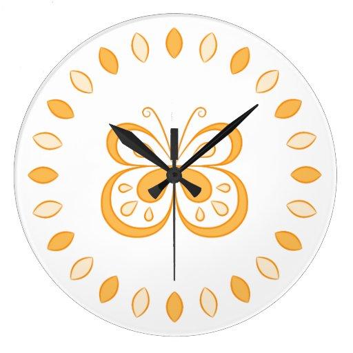 Orange Butterfly Design Wallclocks
