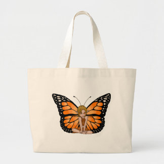 Orange Butterfly Fairy Large Tote Bag