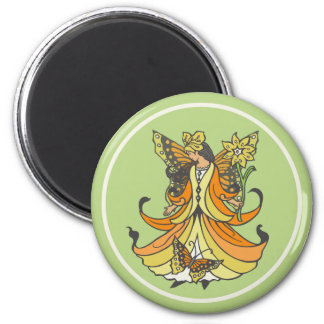 Orange Butterfly Fairy With Flowing Dress 2 Inch Round Magnet
