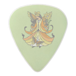 Orange Butterfly Fairy With Flowing Dress Acetal Guitar Pick