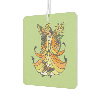 Orange Butterfly Fairy With Flowing Dress Air Freshener