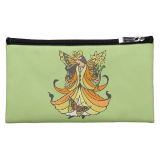 Orange Butterfly Fairy With Flowing Dress Makeup Bags