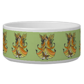 Orange Butterfly Fairy With Flowing Dress Bowl