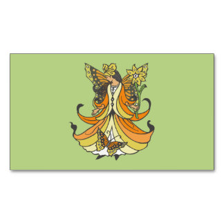 Orange Butterfly Fairy With Flowing Dress Business Card Magnet
