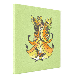 Orange Butterfly Fairy With Flowing Dress Canvas Print