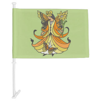 Orange Butterfly Fairy With Flowing Dress Car Flag