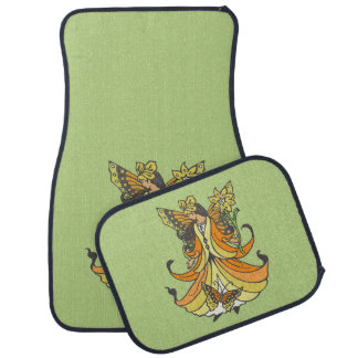 Orange Butterfly Fairy With Flowing Dress Car Mat