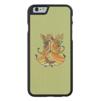 Orange Butterfly Fairy With Flowing Dress Carved Maple iPhone 6 Slim Case