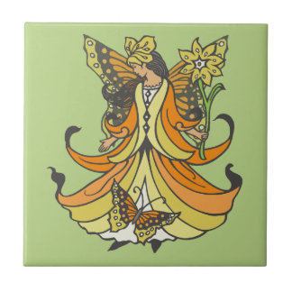 Orange Butterfly Fairy With Flowing Dress Ceramic Tile