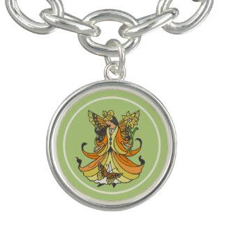 Orange Butterfly Fairy With Flowing Dress Charm Bracelet