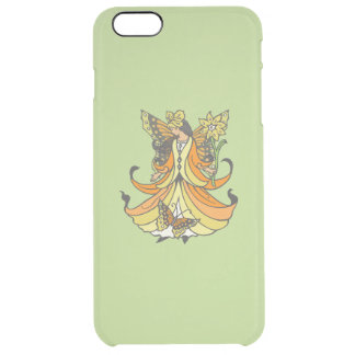 Orange Butterfly Fairy With Flowing Dress Clear iPhone 6 Plus Case