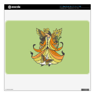 "Orange Butterfly Fairy With Flowing Dress Decal For 11"" MacBook Air"