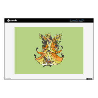 Orange Butterfly Fairy With Flowing Dress Decals For Laptops