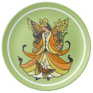 Orange Butterfly Fairy With Flowing Dress Dinner Plate