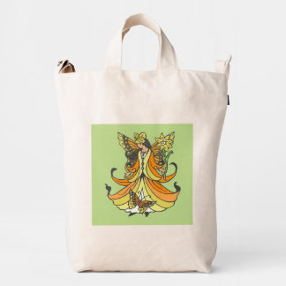 Orange Butterfly Fairy With Flowing Dress Duck Bag