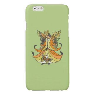 Orange Butterfly Fairy With Flowing Dress Glossy iPhone 6 Case