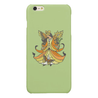 Orange Butterfly Fairy With Flowing Dress Glossy iPhone 6 Plus Case