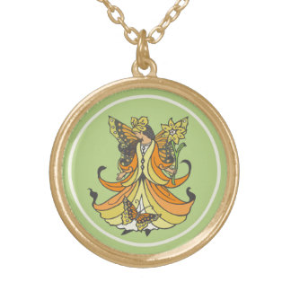Orange Butterfly Fairy With Flowing Dress Gold Plated Necklace