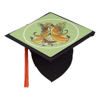 Orange Butterfly Fairy With Flowing Dress Graduation Cap Topper