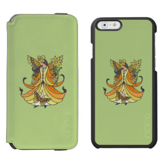 Orange Butterfly Fairy With Flowing Dress iPhone 6/6s Wallet Case