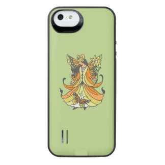 Orange Butterfly Fairy With Flowing Dress iPhone SE/5/5s Battery Case