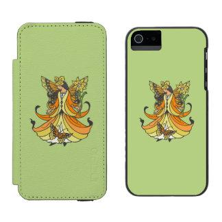 Orange Butterfly Fairy With Flowing Dress iPhone SE/5/5s Wallet Case