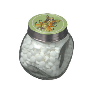 Orange Butterfly Fairy With Flowing Dress Jelly Belly Candy Jar