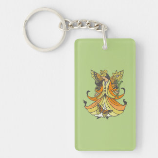 Orange Butterfly Fairy With Flowing Dress Keychain