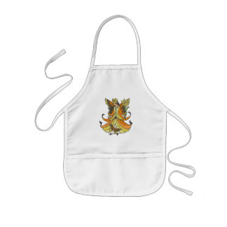 Orange Butterfly Fairy With Flowing Dress Kids' Apron