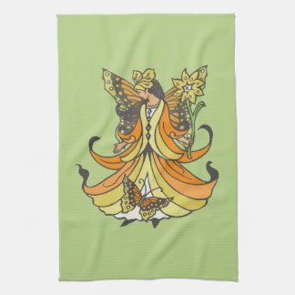 Orange Butterfly Fairy With Flowing Dress Kitchen Towels
