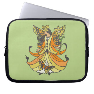 Orange Butterfly Fairy With Flowing Dress Laptop Computer Sleeve