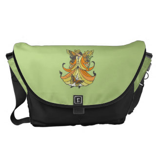 Orange Butterfly Fairy With Flowing Dress Messenger Bag