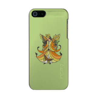 Orange Butterfly Fairy With Flowing Dress Metallic iPhone SE/5/5s Case