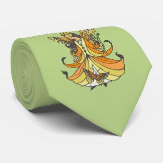 Orange Butterfly Fairy With Flowing Dress Neck Tie